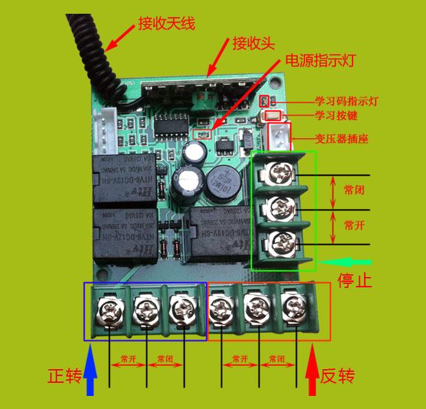 卷帘机无线遥控器的发射手柄有三个遥控控制按键,一个正传,一个反转